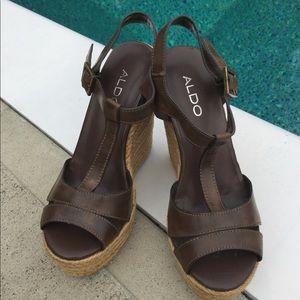 ALDO platform brown leather espadrilles, Size 7